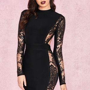 Black lace open back bandage dress